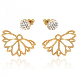 Novelty Style Hollow Daisy Rose Gold Plated Front Back Paved Rhinestones Swinging Under Lobe Two Ways Stud Earrings