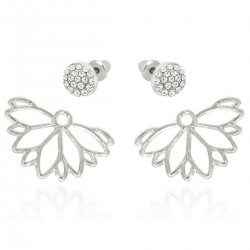 Novelty Style Hollow Daisy White Gold Plated Front Back Paved Rhinestones Swinging Under Lobe Two Ways Stud Earrings