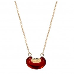 Luxury 18K Rose Gold Plated Stainless Steel Red Bean Stone Chain Necklace High Quality