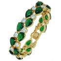 Touch of Luxury - Genuine 18K Gold Finished AAA Quality Austrian Crystals Green Emerald IMPERIALE Bracelet in Box