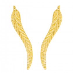 Leaf Feather Light Rose Gold Tone Climbers Crawlers Sweep Cuff Hook Earrings for Pierced Ears
