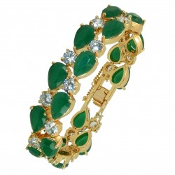 Touch of Luxury - Genuine 18K Gold Finished AAA Quality Austrian Crystals Green Malachite IMPERIALE Bracelet in Box