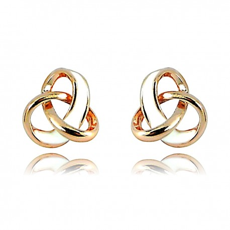 Love Celtic Trinity Triangle Knot Trio Loop 18K Rose Gold Plated White Enamelled Good Quality Stud Earrings