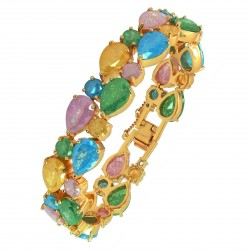 Touch of Luxury - Genuine 18K Gold Finished AAA Quality Austrian Crystals Pastel Multi Coloured IMPERIALE Bracelet in Box