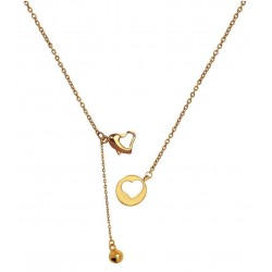 Luxury 18K Rose Gold Finished Stainless Steel Open Heart Bell Fancy Clasp Pendant With Chain