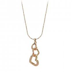 Triple Open Heart Shaped 18K Rose Gold Finished Necklace Pendant with Chain