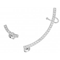 HOT TRENDY - Ear Cuff White Gold Plated Asymmetric Curved Bar Cubic Zirconia Climbers Crawler Earrings
