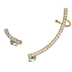 HOT TRENDY - Ear Cuff Rose Gold Plated Asymmetric Curved Bar Cubic Zirconia Climbers Crawler Earrings