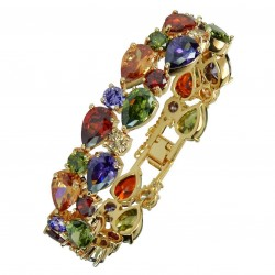 Touch of Luxury - Genuine 18K Gold Finished AAA Quality Austrian Crystals Multi Coloured IMPERIALE Bracelet in Box
