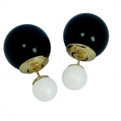 Elegant Front Back Glossy Black and Semi Matte White Bead Earrings