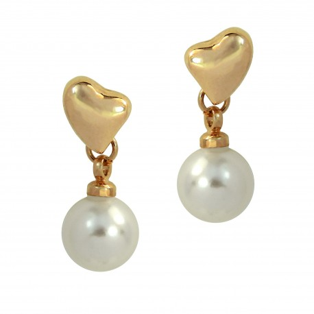 LOVE HEART - Pearl Drop Studded 18K Rose Gold Plated Small Earrings