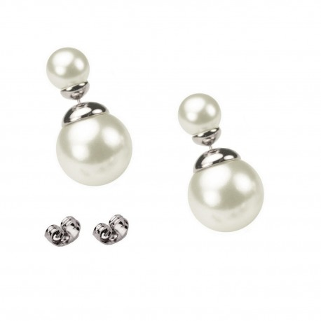 CLASSIC STYLE - SMALL SIZE - Glossy White Artificial Pearl White Gold Plated Double Bead Stud Earrings
