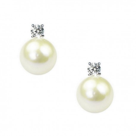 White Freshwater Pearl and Crystal Sterling Silver Stud Earrings in Gift Box High Quality