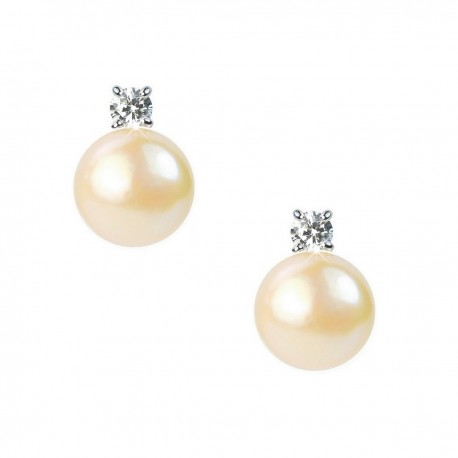 Light Pink Freshwater Pearl and Crystal Sterling Silver Stud Earrings in Gift Box High Quality