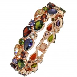 Touch of Luxury - Genuine 18K Rose Gold Finished AAA Quality Austrian Crystals Multi Coloured IMPERIALE Bracelet in Box