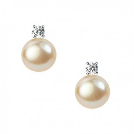 Light Mauve Purple Freshwater Pearl and Crystal Sterling Silver Stud Earrings in Gift Box High Quality
