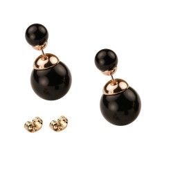 CLASSIC STYLE - SMALL SIZE - Glossy Black Bead Rose Gold Plated Double Bead Stud Earrings