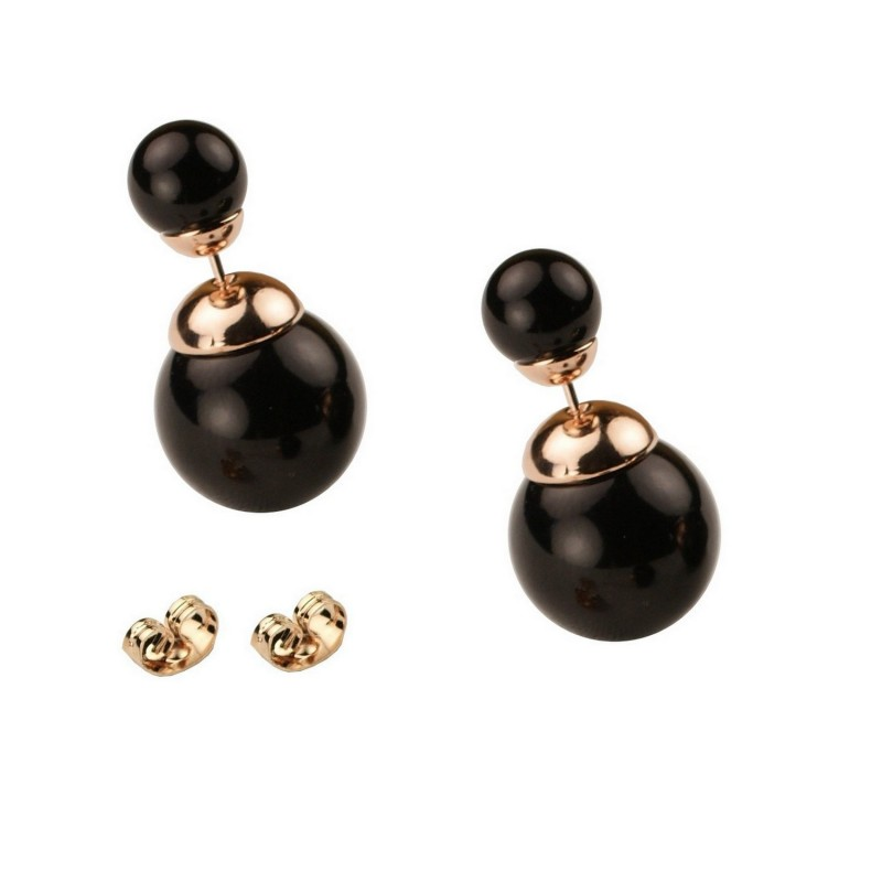 6d952cdd7 CLASSIC STYLE - SMALL SIZE - Glossy Black Bead Rose Gold Plated Double Bead  Stud Earrings ...