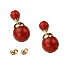 CLASSIC STYLE - SMALL SIZE - Semi Glossy Red Bead Rose Gold Plated Double Bead Stud Earrings