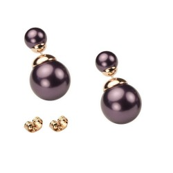 CLASSIC STYLE - SMALL SIZE - Metallic Purple Bead Rose Gold Plated Double Bead Stud Earrings
