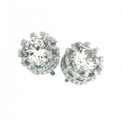Elegant 925 Sterling Silver  Austrian Crystal Cubic Zirconia Small Round Stud Earrings Good Quality