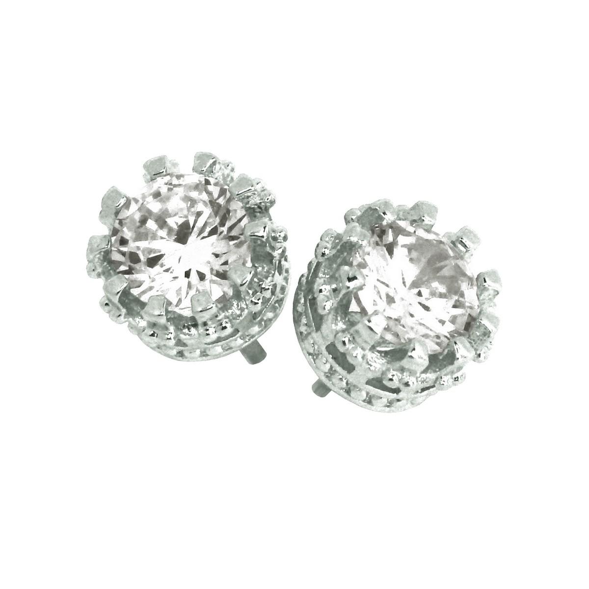 528af4dba129d Elegant 925 Sterling Silver Austrian Crystal Cubic Zirconia Small Round  Stud Earrings Good Quality - ZANZARA