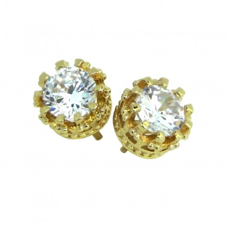 Elegant 925 Sterling Silver Gold Plated Austrian Crystal Cubic Zirconia Small Round Stud Earrings Good Quality