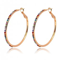Multi Coloured Crystals Classic Middle Large Hoop 18K Rose Gold Plated Leverback Earrings