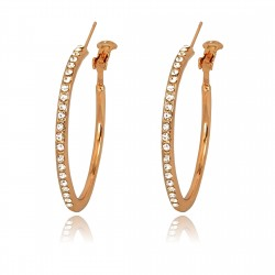 Classic Middle Size Hoop 18K Rose Gold Plated Clear Crystal Rhinestones Leverback Earrings