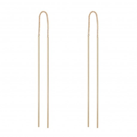 TOP TRENDY Style - Rose Gold Plated Long Bar Chain Pull Through Threader Earrings