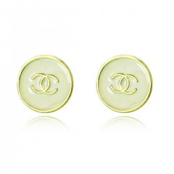 Classic Off White (Grey/Light Green) Marble-Like Enameled Button Stud Earrings