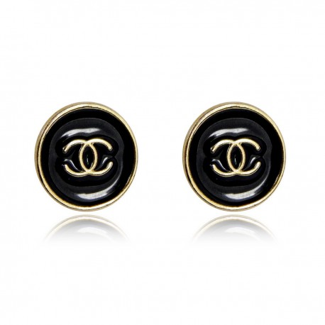 Classic Black Enameled Button Stud Earrings