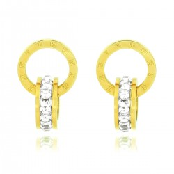 Luxury 18K Yellow Gold Plated Stainless Steel Rhinestones Roman Numerals Double Hoop Stud Earrings