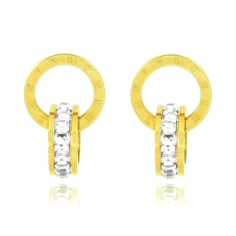 1ca47fec1 Luxury 18K Yellow Gold Plated Stainless Steel Rhinestones Roman Numerals  Double Hoop Stud Earrings ...