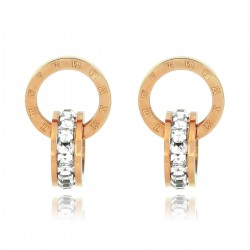 Luxury 18K Rose Gold Plated Stainless Steel Rhinestones Roman Numerals Double Hoop Stud Earrings