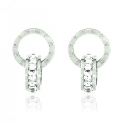 Luxury 18K White Gold Plated Stainless Steel Rhinestones Roman Numerals Double Hoop Stud Earrings