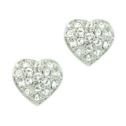 9mm Clear Crystals Heart White Gold Plated Small Stud Earrings