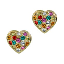 9mm Multi Coloured Crystals Heart Rose Gold Plated Small Stud Earrings