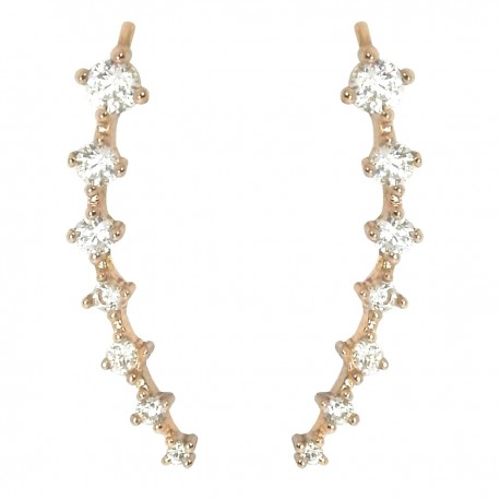 NOVELTY Ear Cuff Climbers Crawlers Sweep Cuff Rose Gold Colour Inline Clear Cubic Zirconia Earrings