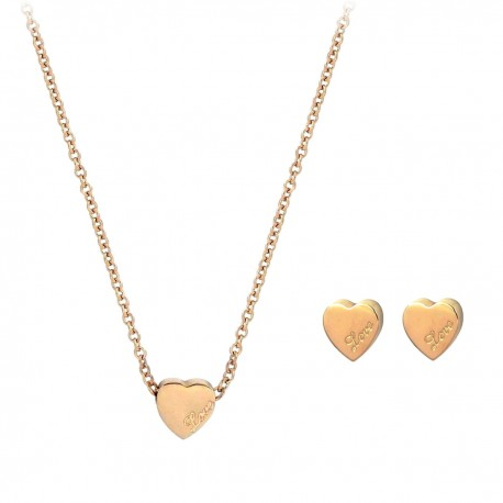 Luxury 18K Rose Gold Plated Stainless Steel Chain Love Small Heart Pendant Necklace Earings Jewellery Set