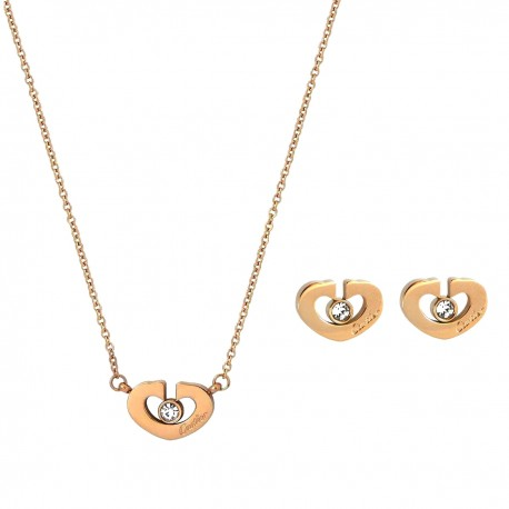 Luxury 18K Rose Gold Plated Stainless Steel Cubic Zirconia Chain Heart Pendant Necklace Earings Jewellery Set