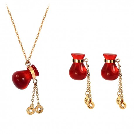 Luxury Magic Red Fortune Bag 18K Rose Gold Plated Stainless Steel Earrings Pendant Chain Necklace Jewellery Set