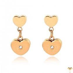 Luxury 18K Rose Gold Plated Stainless Steel Double Heart Rhinestones Drop Dangle Studded Earrings