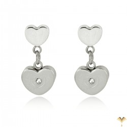 Luxury 18K White Gold Plated Stainless Steel Double Heart Rhinestones Drop Dangle Studded Earrings