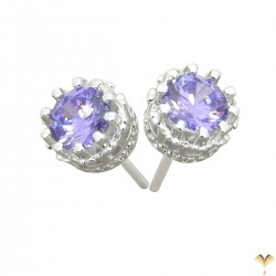 Elegant 925 Sterling Silver  Austrian Light Purple Cubic Zirconia Small Round Stud Earrings Good Quality