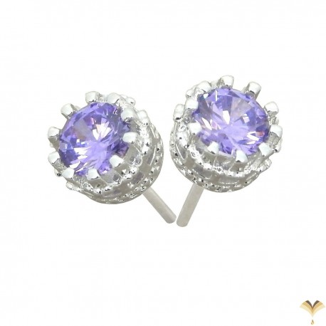 Elegant 925 Sterling Silver  Austrian Light Purple Cubic Zirconia Small Round Stud Earrings Good Quality
