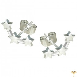 Three Stars Constellation Novelty Ear Climbers Crawlers Sweep Cuff Silver Colour Inline Small Stud Earrings