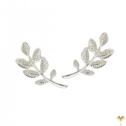 Leaf Twig Silver Colour Climbers Crawlers Sweep Cuff Hook Earrings for Pierced Ears