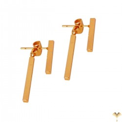 TOP TRENDY Style - Simple Bars Front Back Highly Polished Mirror Finish Rose Gold Plated Stud Minimal Earrings Good Quality