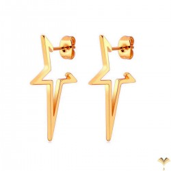 Novelty Open Hollow Star Highly Polished Mirror Finish Rose Gold Color Stainless Steel Punk Style Studded Earrings